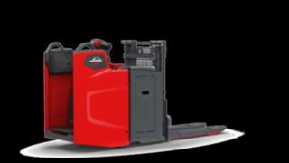 Der elektrische Hochhubwagen D10 FP von Linde Material Handling ist ein ebenso kompakter wie leistungsstarker Doppelstockbelader.