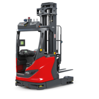 Der autonome Schubmaststapler R-MATIC von Linde Material Handling transportiert und lagert Waren bis 1.600 Kilogramm auf bis über elf Metern Höhe ein und aus.