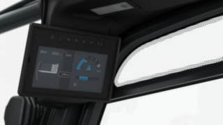 Ein 7-Zoll-Display zeigt Informationen zu Last und Bilder der Kamera