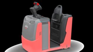 Der gewichtsabhängig gefederte Fahrerstand des P40 - P60 C von Linde Material Handling schützt den Fahrer vor Vibrationen und Erschütterungen.