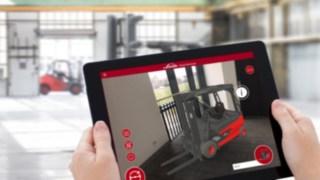 Mit der Linde Showroom App von Linde Material Handling lassen sich 27 virtuelle Flurförderzeuge in jede beliebige Umgebung projizieren.