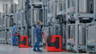 Hochhubwagen von Linde mit Assistenzssystem Linde Load Management