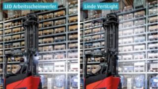Anders als bei regulären Arbeitsscheinwerfern wird bei Linde VertiLight kein punktueller Lichtkegel erzeugt, sondern es entsteht eine großflächige, gleichmäßige und blendungsfreie Ausleuchtung vom Boden bis zur Hubhöhe.