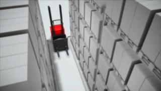Animation zum optional für den Vertikalkommissionierer V modular von Linde verfügbaren Gangsicherheitssystem.